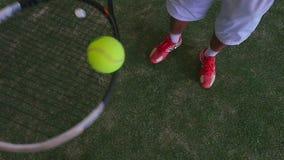 Balanceo de la pelota de tenis en la estafa de la rejilla almacen de video