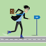 Balanceo feliz del hombre de negocios a trabajar libre illustration