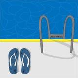 balanceos y piscina Foto de archivo