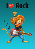 Balancier de lion avec une guitare Illustration Stock