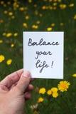 Balancieren Sie Ihre Lebensdauer Stockbild