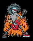 Balancim do zombi que joga a rocha em uma guitarra vermelha ilustração do vetor