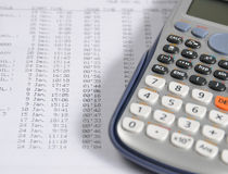 Balancing the Accounts. Data analysis and financial calculators Royalty Free Stock Image
