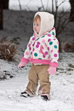 Balancing Act. Little Girl Standing In The Snow Royalty Free Stock Photo