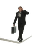 Balancing act. Businessman managing workload stock image