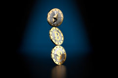 Balancing Act - Three golden coins - Bitcoin, Dollar and Ethereum Royalty Free Stock Photography