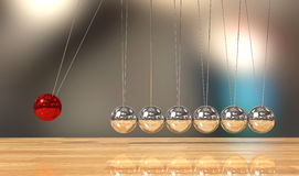 Balancing ball Newton`s cradle pendulum. 3D Rendering Royalty Free Stock Images