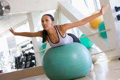 balancing ball swiss woman Στοκ εικόνες με δικαίωμα ελεύθερης χρήσης