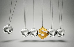 Balancing balls. Conceptual  balancing balls with dollar sign  on a grey Royalty Free Stock Images