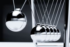 Balancing balls newton`s cradle. Balancing balls newton cradle. Business teamwork concept. 3d rendering illustration Stock Photo