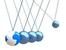Balancing balls Newton's cradle with world map Royalty Free Stock Image