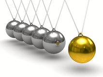 Balancing balls on white background. Isolated 3D Royalty Free Stock Photography