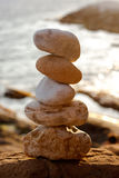 Balancing beach stones Royalty Free Stock Photos