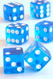 Balancing blue dice. Offering lots of chances Royalty Free Stock Photography