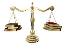 Balancing The Books. A gold justice scale with three books on either end balancing it out Royalty Free Stock Images