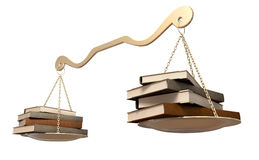 Balancing Books Scale. A gold scale that it balanced with a set of leather books  on either end on an isolated background Stock Photography