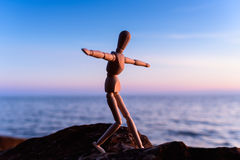 Balancing on the boulder Royalty Free Stock Photo