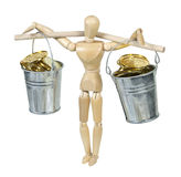 Balancing Buckets Filled With Gold Coins Royalty Free Stock Image