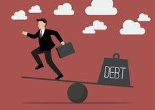 Balancing. Businessman and Debt Stock Photography