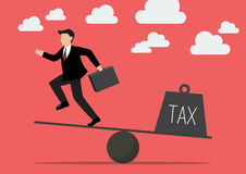 Balancing. Businessman and Tax Stock Images