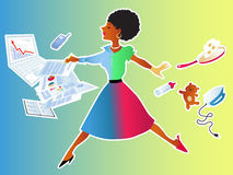 Balancing career and home. Energetic African-American woman making leap from her house chores to her work responsibilities Stock Photos