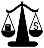 Balancing cost of fuel  dollar. Scales of justice balancing oil with the dollar - vector Royalty Free Stock Photos