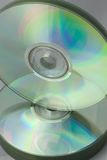 Balancing Data. A statck of CD-R's standing on end on top of another stack of CD-R's Royalty Free Stock Photos