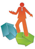 Balancing directions. Conceptual Business icon of man balancing directions, vector illustration Stock Photo