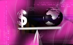 Balancing earth and dollar Stock Photo