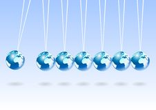 Balancing earth spheres. Abstract vector background Royalty Free Stock Photos