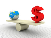 Balancing globe and dollar Royalty Free Stock Images