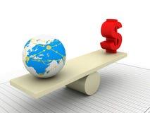 Balancing globe and dollar Stock Photos