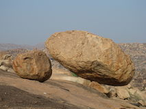 Balancing granite boulder Stock Image