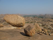 Balancing granite boulder, Karnataka, India Stock Images