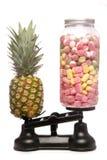 Balancing healthy eating and junk food. Studio cutout stock photos