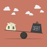 Balancing with income and debt. Business Concept Stock Photos