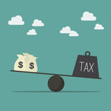 Balancing with income and tax Royalty Free Stock Images