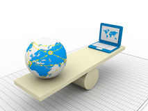 Balancing laptop and earth Royalty Free Stock Photography