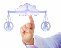Balancing A Male And A Female Worker In The Cloud Royalty Free Stock Photography