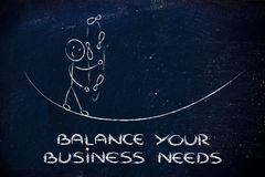 Balancing and managing your business needs: funny character jugg Royalty Free Stock Photos