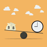 Balancing with money and time Stock Photography