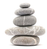 Balancing pebble tower. Isolated on white background Stock Photo
