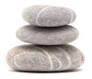Balancing pebble tower. Isolated on white background Royalty Free Stock Images