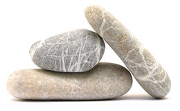 Balancing pebble tower. Isolated on white background Royalty Free Stock Photography
