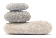 Balancing pebble tower. Isolated on white background Stock Photography