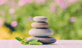 Balancing pebble zen stones outdoor Royalty Free Stock Images