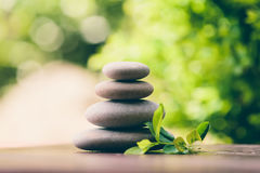 Balancing pebble zen stones outdoor Stock Photo