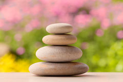Balancing pebble zen stones outdoor Royalty Free Stock Photos