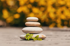 Balancing pebble zen stones outdoor Stock Image