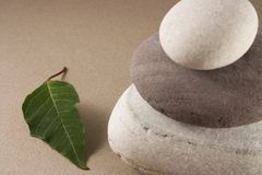 Balancing pebbles with a green leave Stock Photography